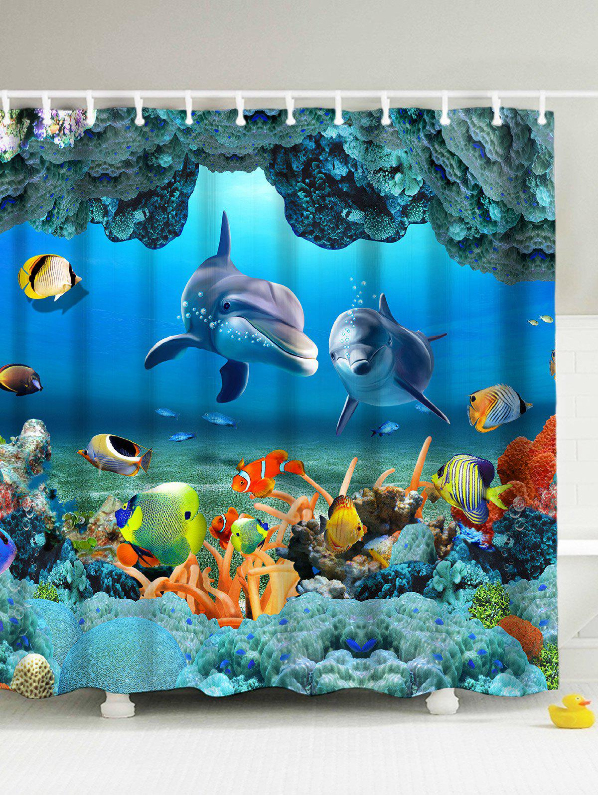 Blue 180*200cm 3d Underwater World Fish Shower Curtain With Hooks ...