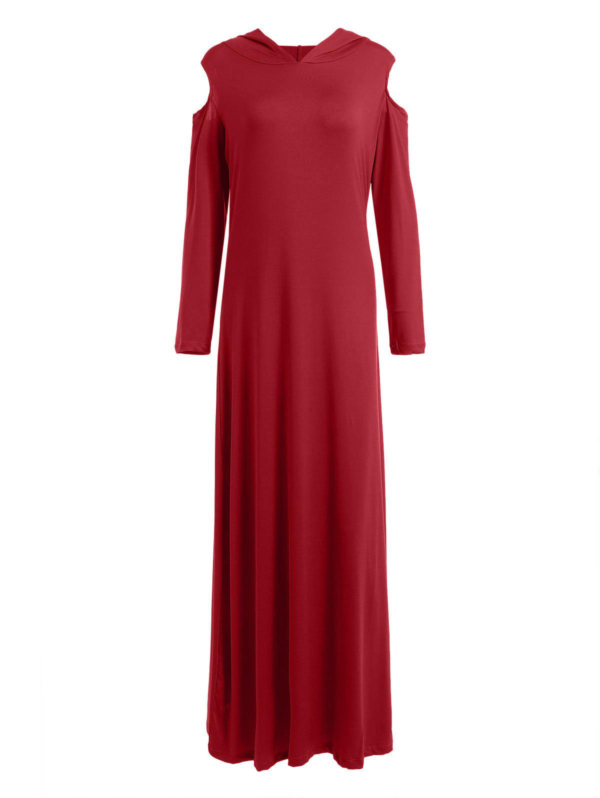 Hot Cold Shoulder Hooded Long Sleeve Maxi Dress
