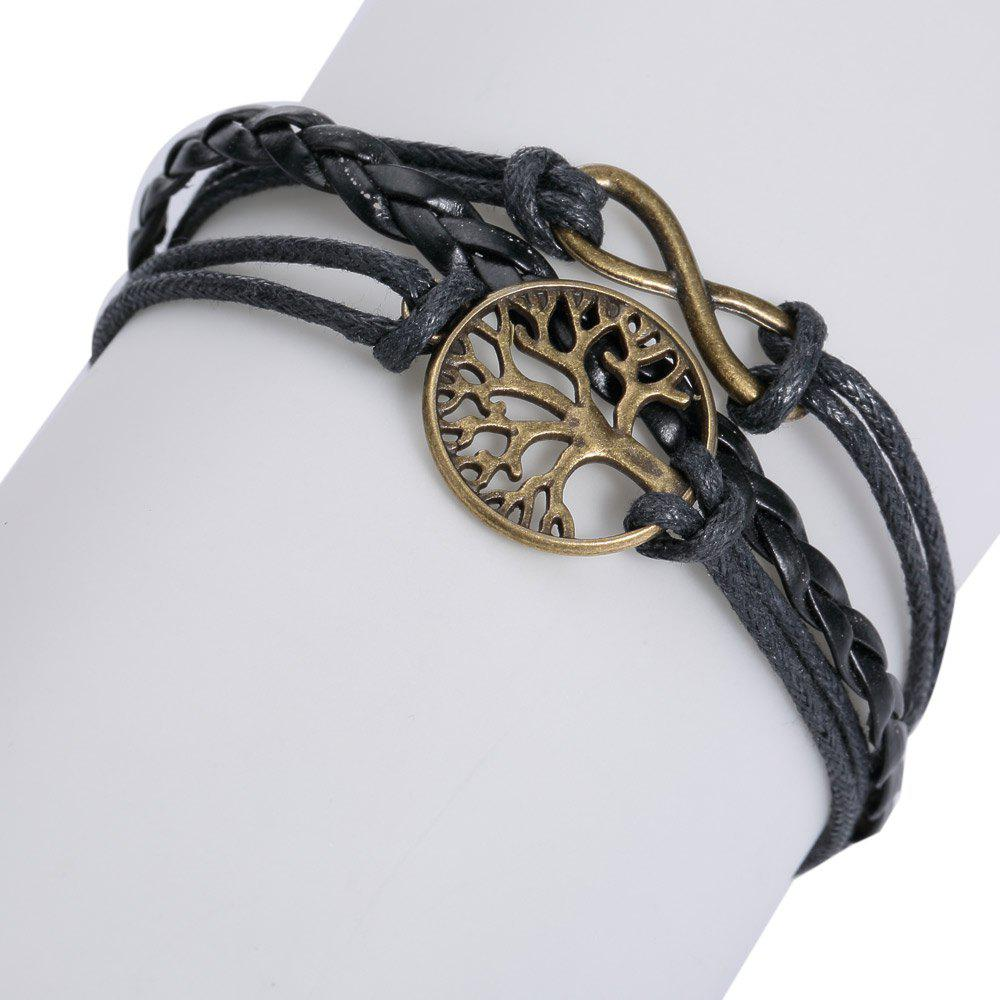 Life Tree 8 Shape Layered BraceletJEWELRY<br><br>Color: BLACK; Item Type: Strand Bracelet; Gender: For Women; Chain Type: Leather Chain; Material: Leather; Metal Type: Alloy; Style: Trendy; Shape/Pattern: Plant; Length: 18CM; Weight: 0.0260kg; Package Contents: 1 x Bracelet;