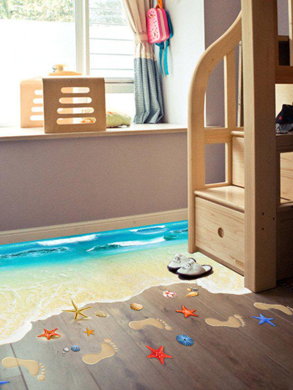 Beach Floor Decor Wall StickerHOME<br><br>Size: 60*90CM; Color: LAKE BLUE; Wall Sticker Type: Plane Wall Stickers; Functions: Decorative Wall Stickers; Theme: Beach Theme,Landscape; Material: PVC; Feature: Removable; Size(L*W)(CM): 60*90; Weight: 0.3000kg; Package Contents: 1 x Wall Stickers;
