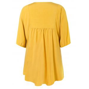 V Neck Embroidered Bib A Line Casual Dress Female - YELLOW ONE SIZE