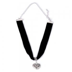Vintage Heart Black Cloth Choker Necklace - BLACK