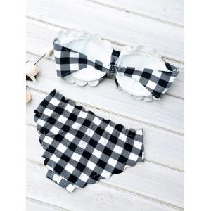 Scalloped Push Up Tartan Bandeau Bikini Sets -