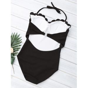 Halter Scalloped Padded One Piece Swimsuit - BLACK L