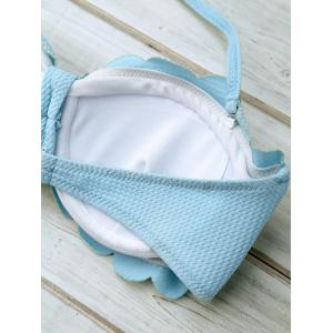 Scalloped Padded Halter Top Bikini - ICE BLUE L