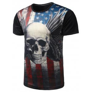 Skull Print Distressed American Flag T Shirt  - Black - 2xl