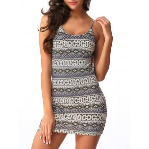 Backless Graphic Sleeveless Short Bodycon Dress - Colormix - S