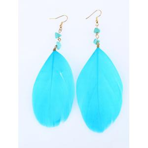 Faux Turquoise Feather Drop Earrings