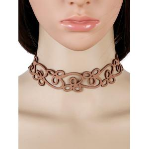 Faux Leather Velvet Floral Choker Necklace
