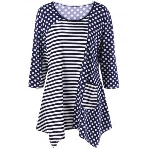 Striped Pocket Polka Dot Asymmetrical T-Shirt