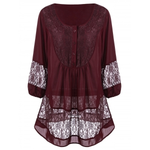 Plus Size Lace Trim Henley Blouse
