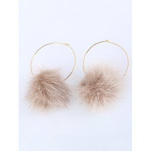 Fuzzy Ball Circle Hoop Earrings