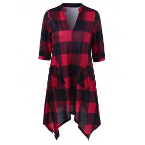 Split-Neck Plaid Longline T-Shirt with Pockets