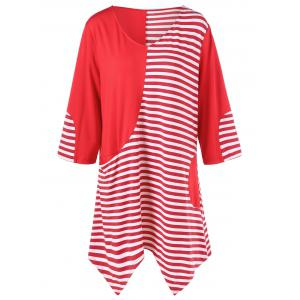 Plus Size Striped Trim Asymmetrical Longline T-Shirt