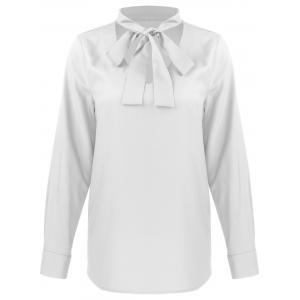 Bow Tie Collar Long Sleeves Blouse
