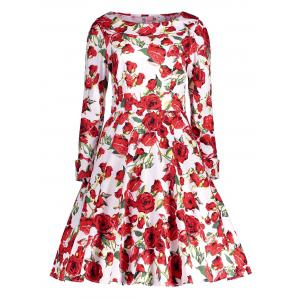 Floral Long Sleeve Knee Length Vintage Dress