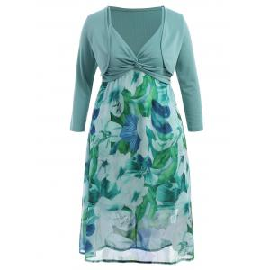 Plus Size Floral Slip Dress With Jacket - Light Green - 6xl