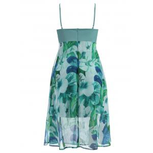 Plus Size Floral Slip Dress With Jacket - LIGHT GREEN 6XL