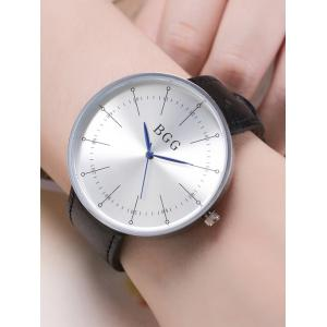 Formal Faux Leather Analog Watch - BLACK