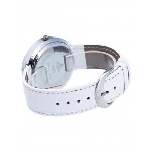 Formal Faux Leather Analog Watch - WHITE
