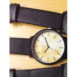 Faux Leather Marble Face Watch - BLACK