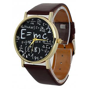 Faux Leather Math Equation Watch - BROWN