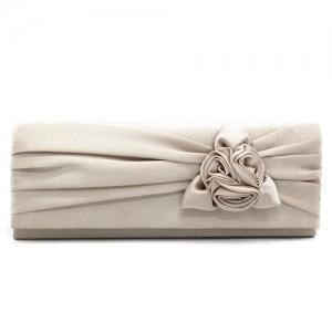 Satin Flower Evening Clutch Bag
