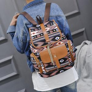 Tribal Printed Canvas Backpack -