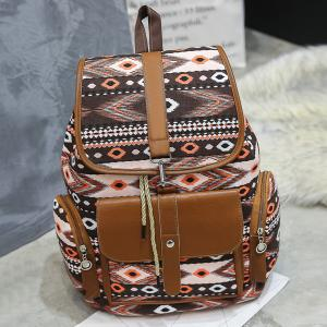 Tribal Printed Canvas Backpack - Brown