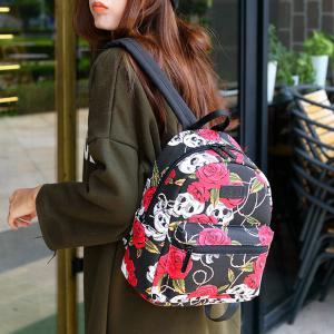 Pad Shoulder Strap Printed Backpack - BLACK