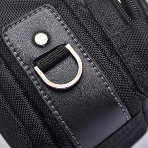 Leather Panel Metal Detail Crossbody Bag -