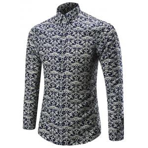Long Sleeve Vintage Floral Print Shirt