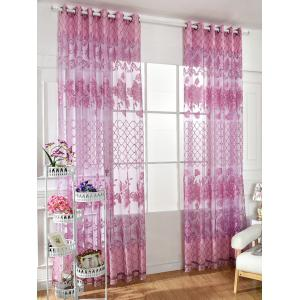 Floral Embroidered Perforate Tulle Window Curtain - Light Purple - 100*250cm