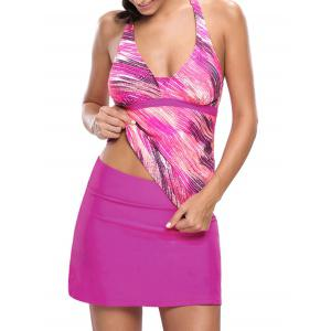 Printed Halter Tankini Set - Rose Red - Xl