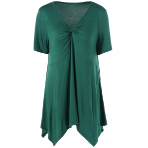 Ruched V Neck Handkerchief Hem Top