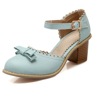 Scalloped Faux Leather Bow Pumps - BLUE 38