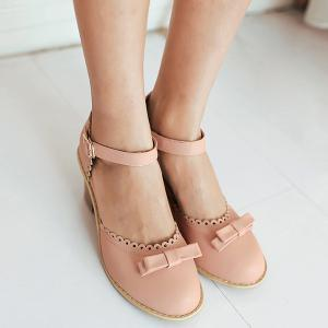 Scalloped Faux Leather Bow Pumps - PINK 37