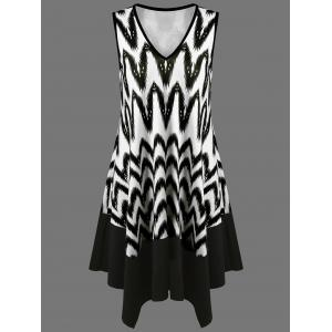 Zigzag Asymmetrical Casual Tank Dress Fashion - White And Black - 2xl