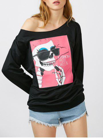 Fancy Skew Neck Skull Print Halloween Pullover Sweatshirt - S BLACK Mobile