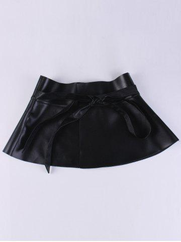 Outfits Bowknot Tail PU Leather High Waist Peplum Obi Belt - BLACK  Mobile