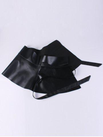 Trendy Bowknot Tail PU Leather High Waist Peplum Obi Belt - BLACK  Mobile