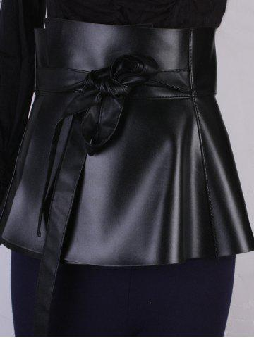 Latest Bowknot Tail PU Leather High Waist Peplum Obi Belt - BLACK  Mobile