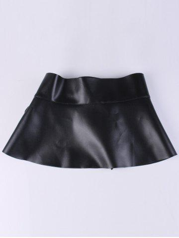 New Bowknot Tail PU Leather High Waist Peplum Obi Belt - BLACK  Mobile