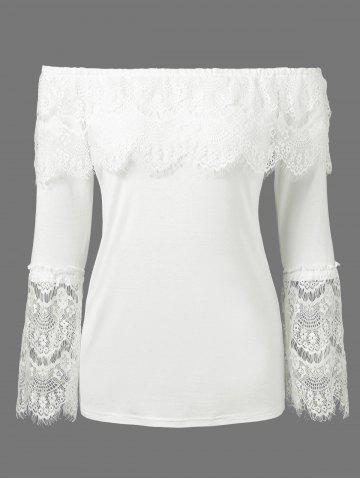 Off The Shoulder Lace Trim Overlay Blouse - White - L