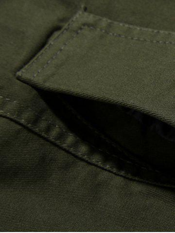 Buy Rib Cuff Stand Collar Jacket - L ARMY GREEN Mobile