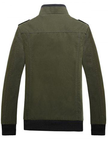 Latest Rib Cuff Stand Collar Jacket - L ARMY GREEN Mobile