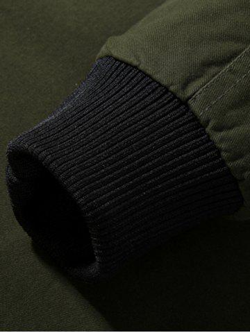 Best Rib Cuff Stand Collar Jacket - L ARMY GREEN Mobile