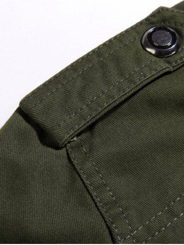 Online Rib Cuff Stand Collar Jacket - L ARMY GREEN Mobile