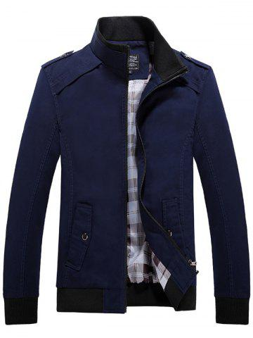 Outfit Rib Cuff Stand Collar Jacket - L DEEP BLUE Mobile