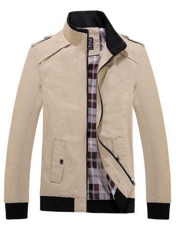 Cheap Rib Cuff Stand Collar Jacket KHAKI L
